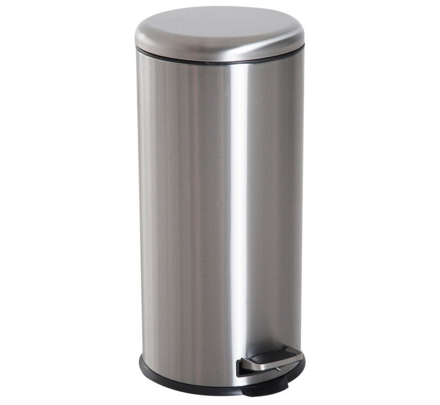 HOMCOM Pedaalemmer RVS zilver 30L