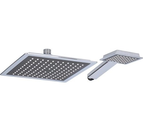 Bath & Shower Douchekopset XL - Chroom - 2 stuks Bath & Shower - Hoofd 22x22cm - Hand 10x9cm