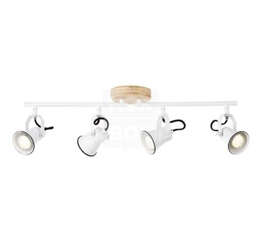Brilliant lamp zaadspot buis 4flg wit / licht hout