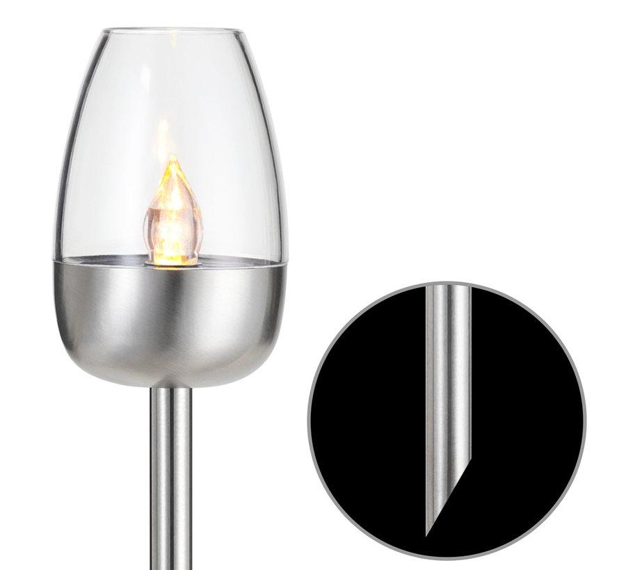Deuba Tuin Zonneverlichting Roestvrij staal Set van 2