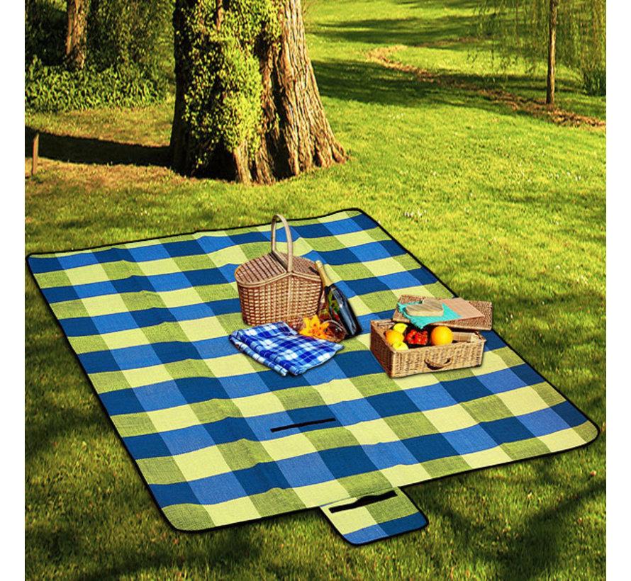 Deuba Picknickdeken met praktische draaggreep 2x2m lichtblauw geel