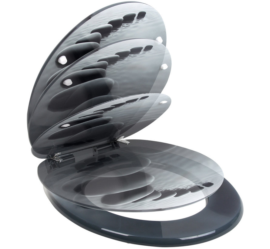 Deuba Toiletbril Stonedesign met softclosing mechanisme en roestvrijstalen scharnieren
