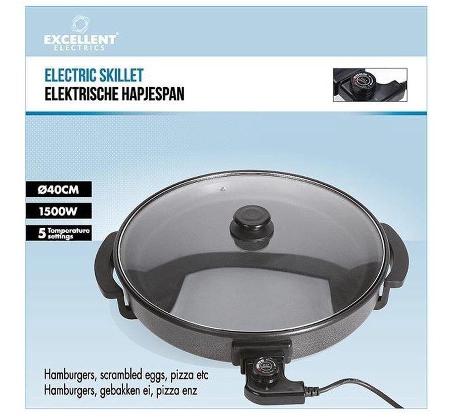 Elektrische hapjespan met glazen deksel - 40cm - Excellent Electrics - Koken & Tafelen - Pannen - Hapjespannen