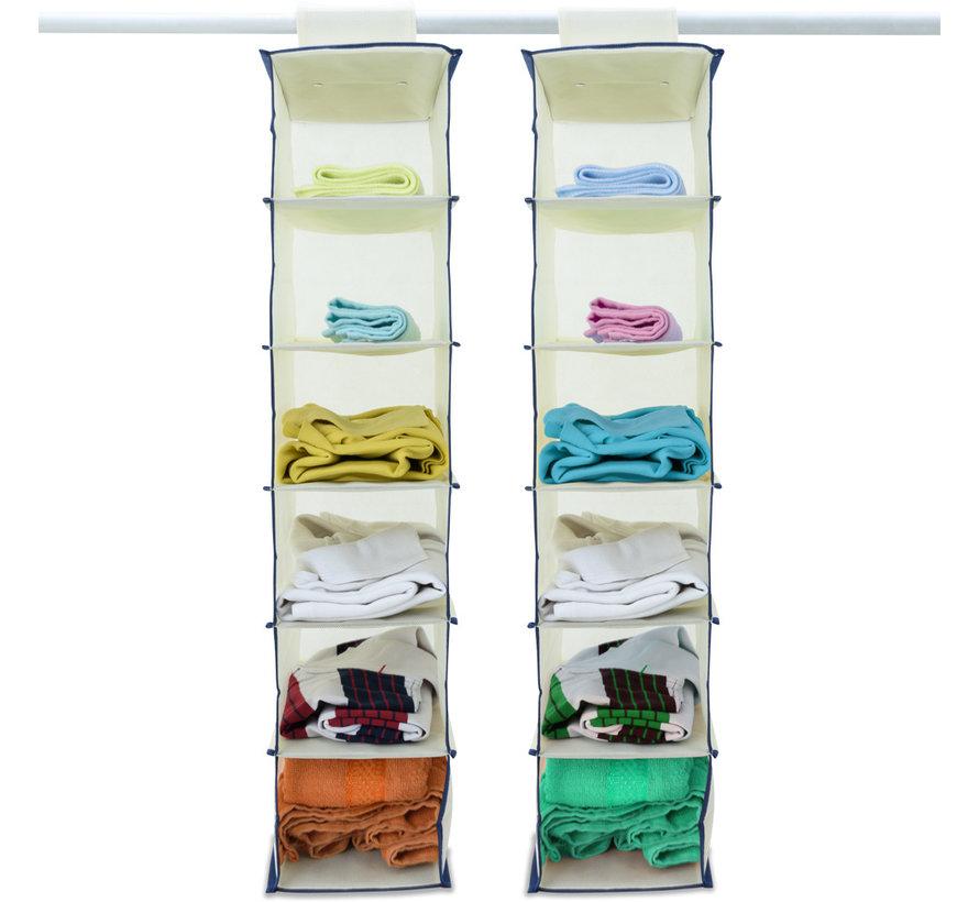 Deuba 2x garderobekasthanger met 6 vakken in beige/blauw