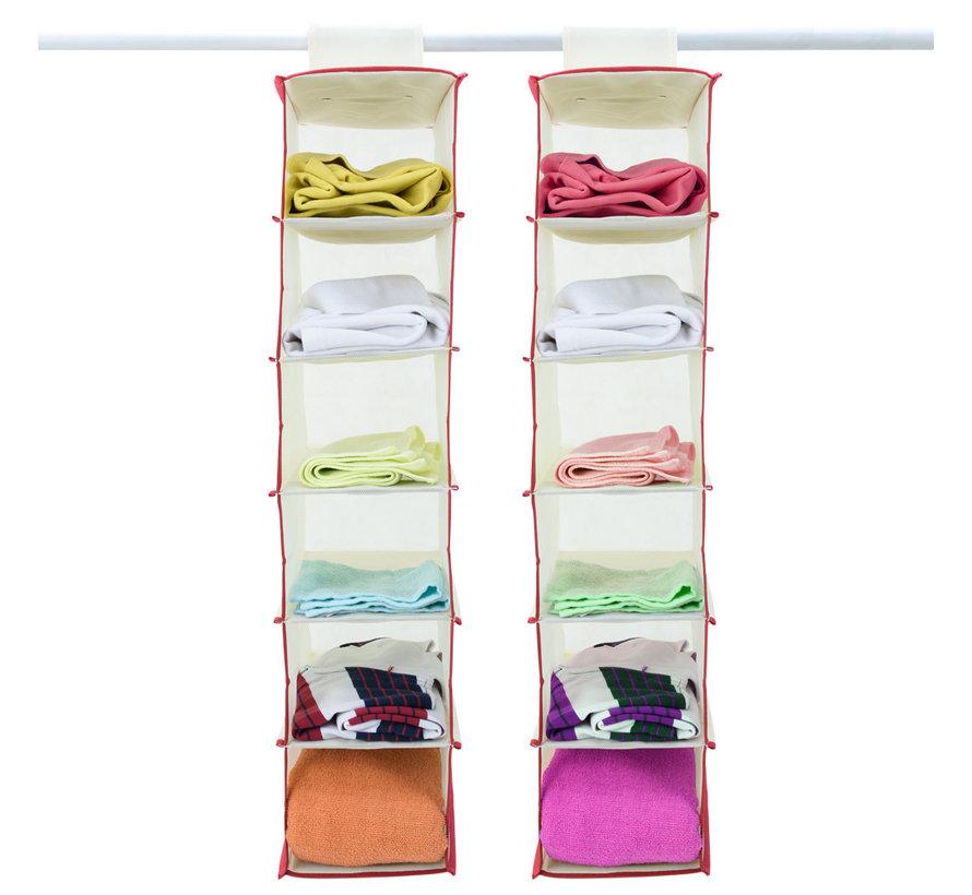 Deuba 2x garderobekasthanger met 6 vakken in beige/rood