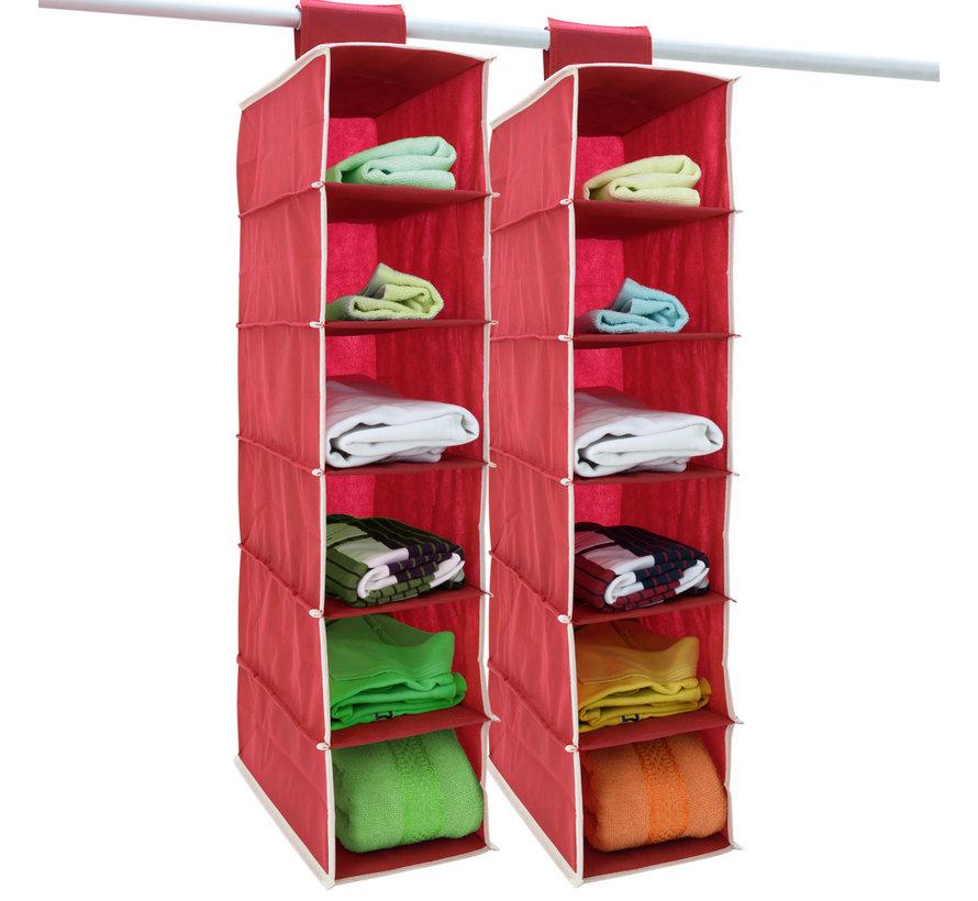 Deuba 2x garderobekasthanger met 6 vakken in rood/wit