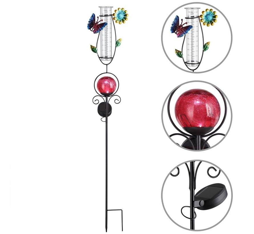 Deuba Zonne-energie-verlichting met regenmeter rood
