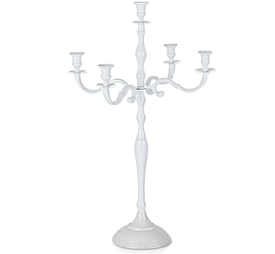 Casaria Kandelaar wit glanzend aluminium 60cm 5-armige