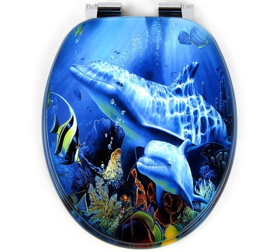 Deuba WC-bril Sealife - soft close roestvrijstalen scharnieren