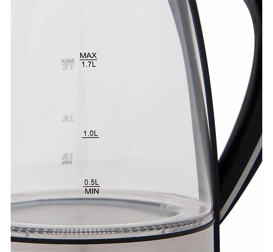 Deuba Waterkoker zwart/zilverglas/roestvrij staal 1,7L