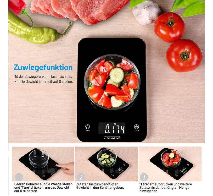 Deuba Digitale keukenweegschaal zwart glas