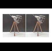 Excellent Houseware Lamp  SET van 2 metaal met hout 17x50cm