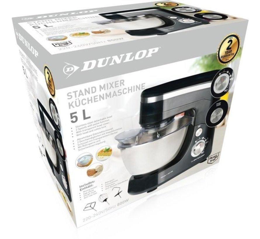 Dunlop keukenmachine - 5l- RVS kom - 800 watt - Zwart/zilver - klopper, garde en deeghaak - CY-617