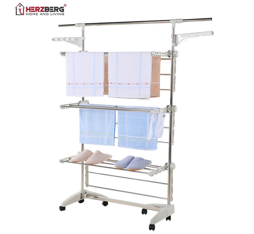 Herzberg HG-5015- Droogrek multifunctioneel -  opvouwbaar - RVS  -  Wit - 88-145 cm x 66 cm x 156 cm