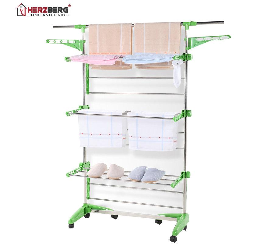 Herzberg HG-5015- Droogrek multifunctioneel -  opvouwbaar - RVS  -  Groen - 88-145 cm x 66 cm x 156 cm