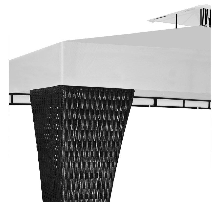 Deuba Paviljoen zwart/crème wit 3 x 4m