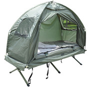 Outsunny Outsunny Campingbedset met opvouwbare tent, slaapzak, luchtbed en voetpomp voor 1 persoon