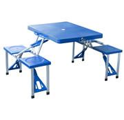 Outsunny Outsunny Aluminium campingtafel picknick 4-zits vouwbaar blauw