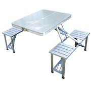 Outsunny Outsunny Aluminium campingtafel picknick 4-zits opvouwbaar zilver