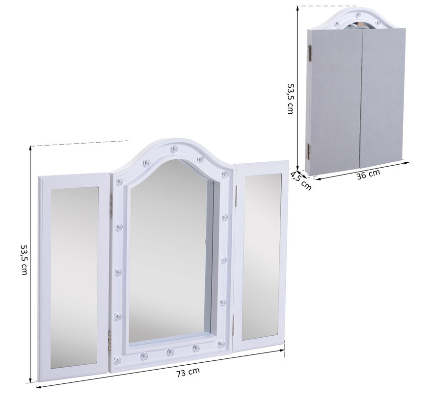 HOMCOM LED make-up spiegel vrijstaand (36-73) x 53,5 x 4,5 cm