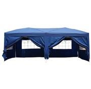 Outsunny Outsunny Stevige Partytent met ramen waterafstotend blauw met 6 wanden 300 x 600 x 255 cm
