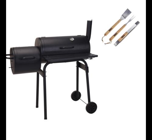 Vargan BBQ Grill - Rookoven zwart met thermostaat met 3 delige BBQ gereedschapsset