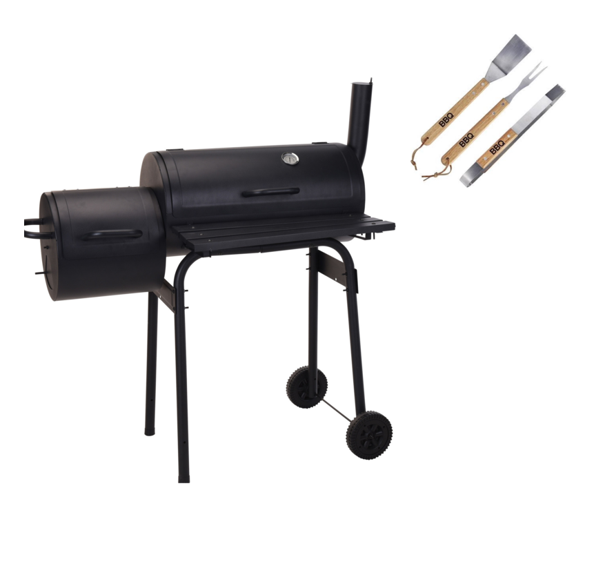 BBQ Grill - Rookoven zwart met thermostaat met 3 delige BBQ gereedschapsset