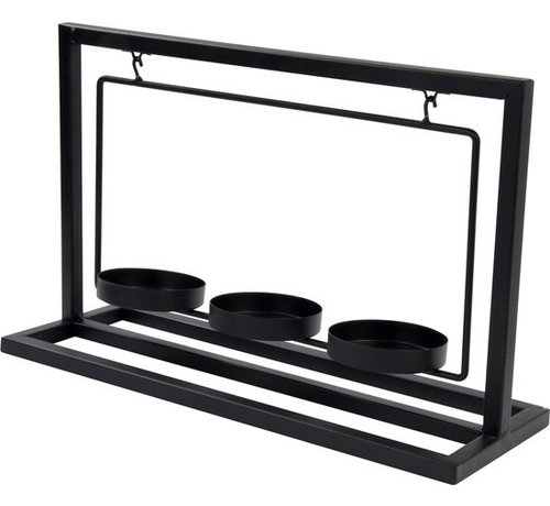 Arti Casa Arti Casa kaarsenhouder - metaal - zwart - 3 kaarsen