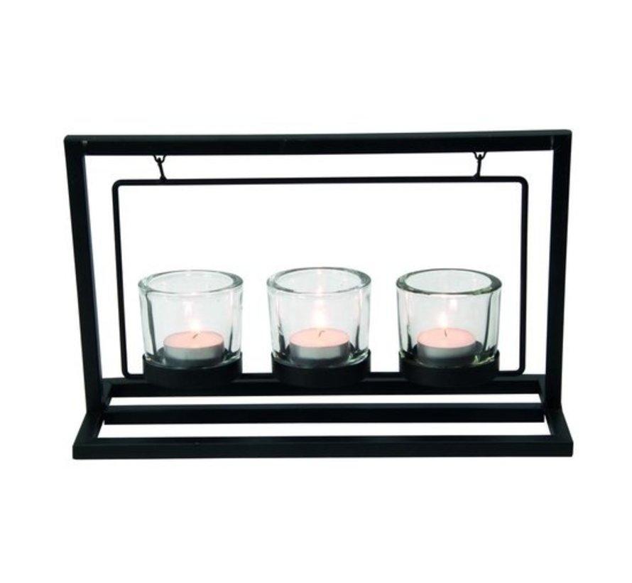 Arti Casa kaarsenhouder - metaal - zwart - 3 kaarsen