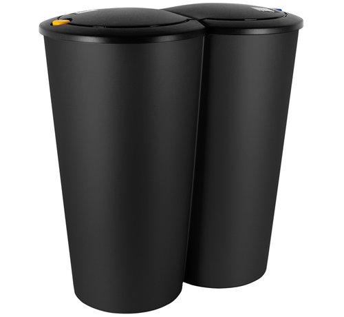 Deuba Deuba Dubbele afvalbak voor het scheiden van afval - zwarte kunststof 2x25L