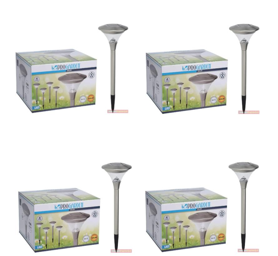 4x Progarden Solar Tuinlamp Set van 4 - 47cm (Gaat automatisch aan)