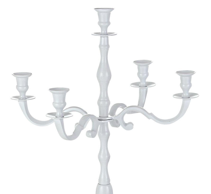 Casaria Kandelaar wit glanzend aluminium 40cm 5-armige kandelaar