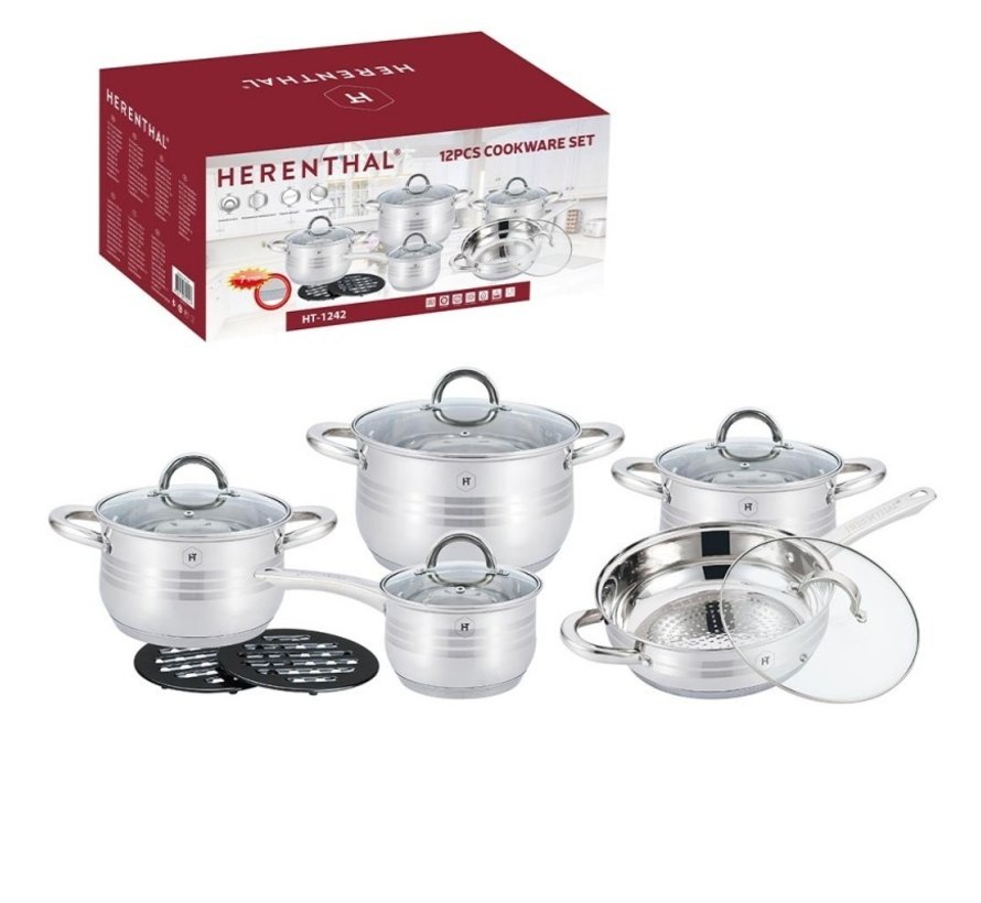Herenthal - Complete 12-delige Pannenset - Zilver