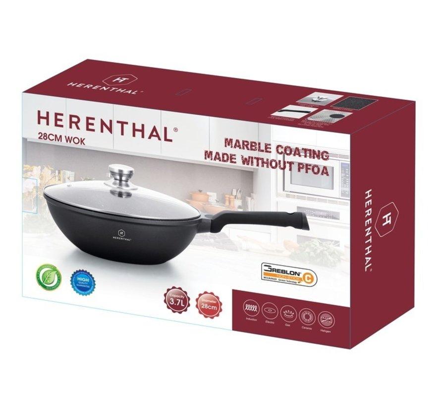 Herenthal Wokpan - Marmeren Coating - 28cm