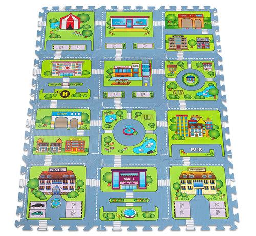 Deuba Deuba Vloerbescherming/puzzelmat 20st. in de straat-speloptiek