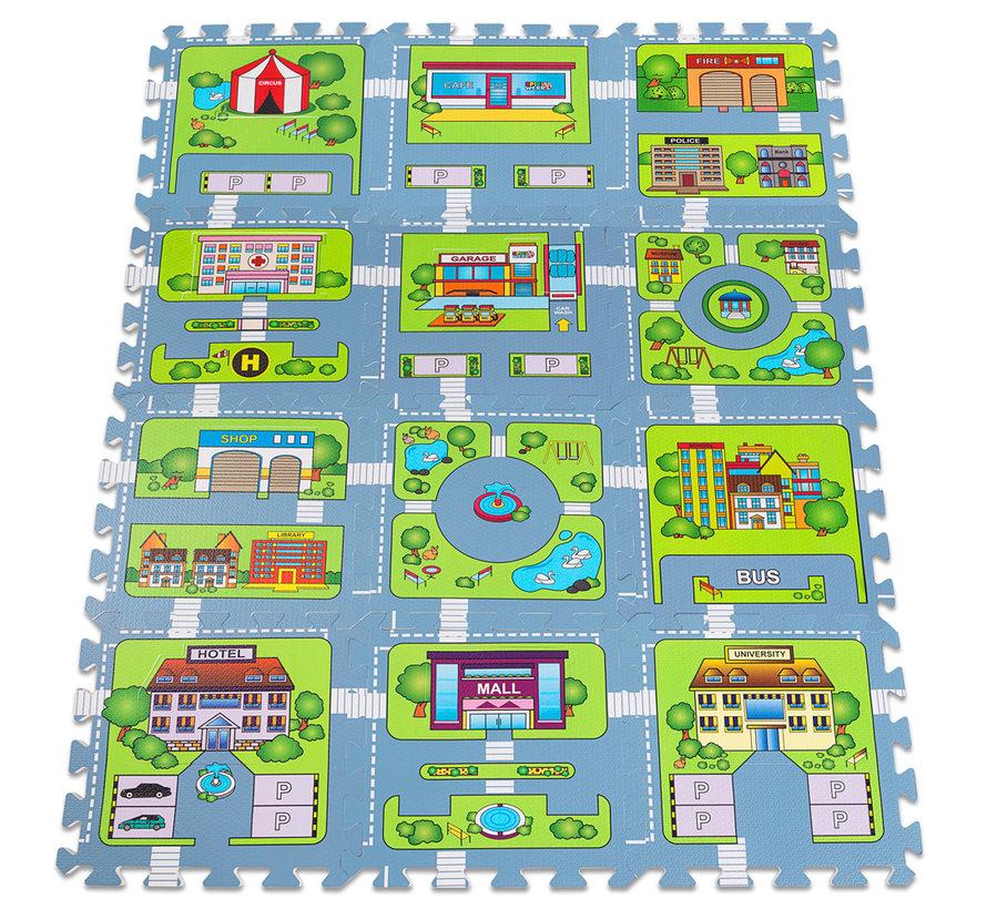 Deuba Vloerbescherming/puzzelmat 20st. in de straat-speloptiek