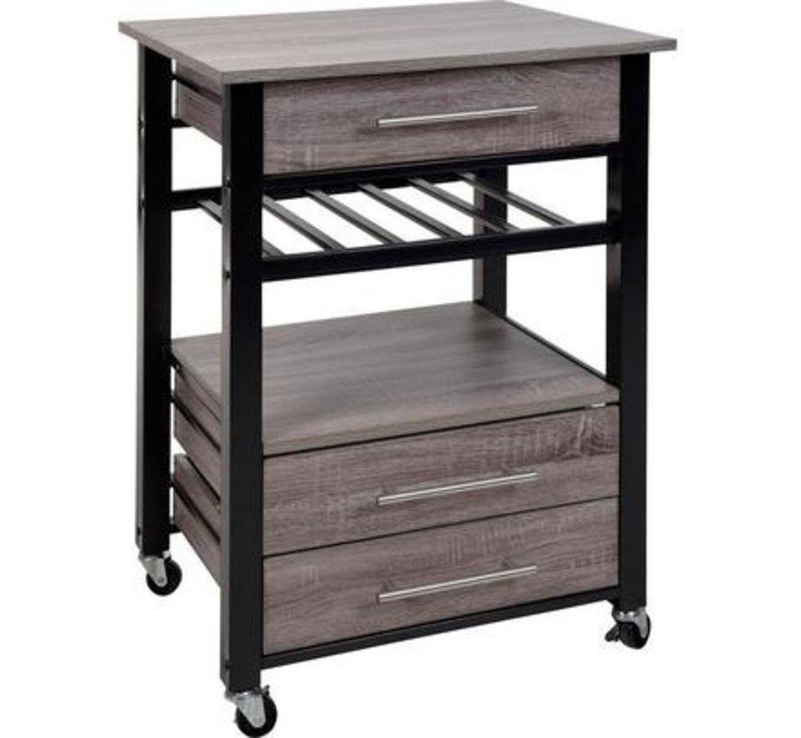 Excellent Houseware Luxe Keukentrolley - metaal en hout 600X500X845MM