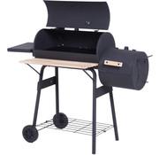 Sunny Sunny BBQ-houtskoolgrillwagen Smoker met schoorsteen zwart 124 x 53 x 108 cm