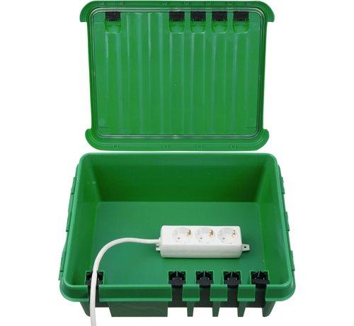Heitronic Dribox waterdichte kabelverdeelbox voor buiten - IP55 - 33 x 23 x 14 cm - Groen