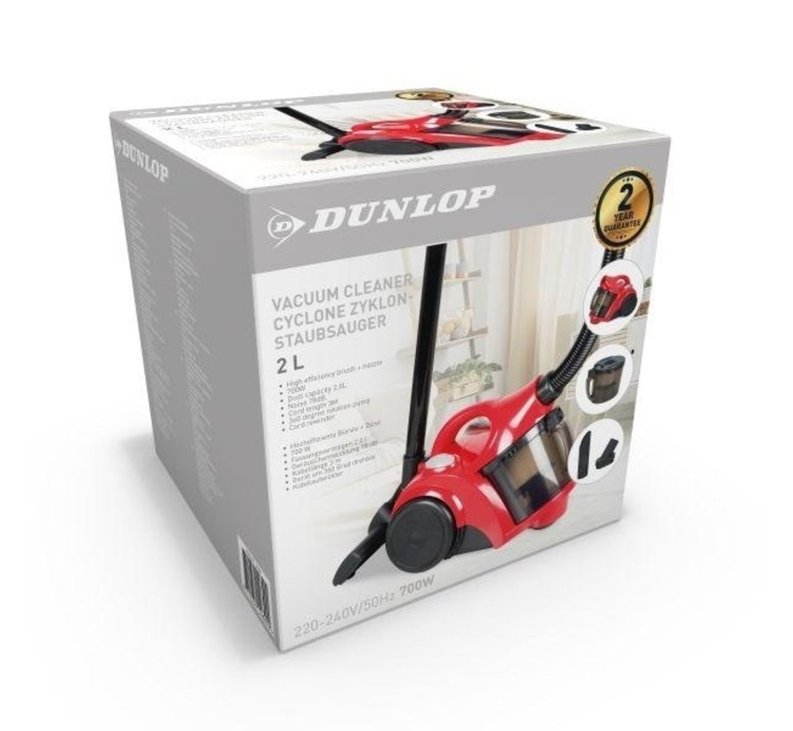 Dunlop Stofzuiger Cycloon 2L- 700W - Rood