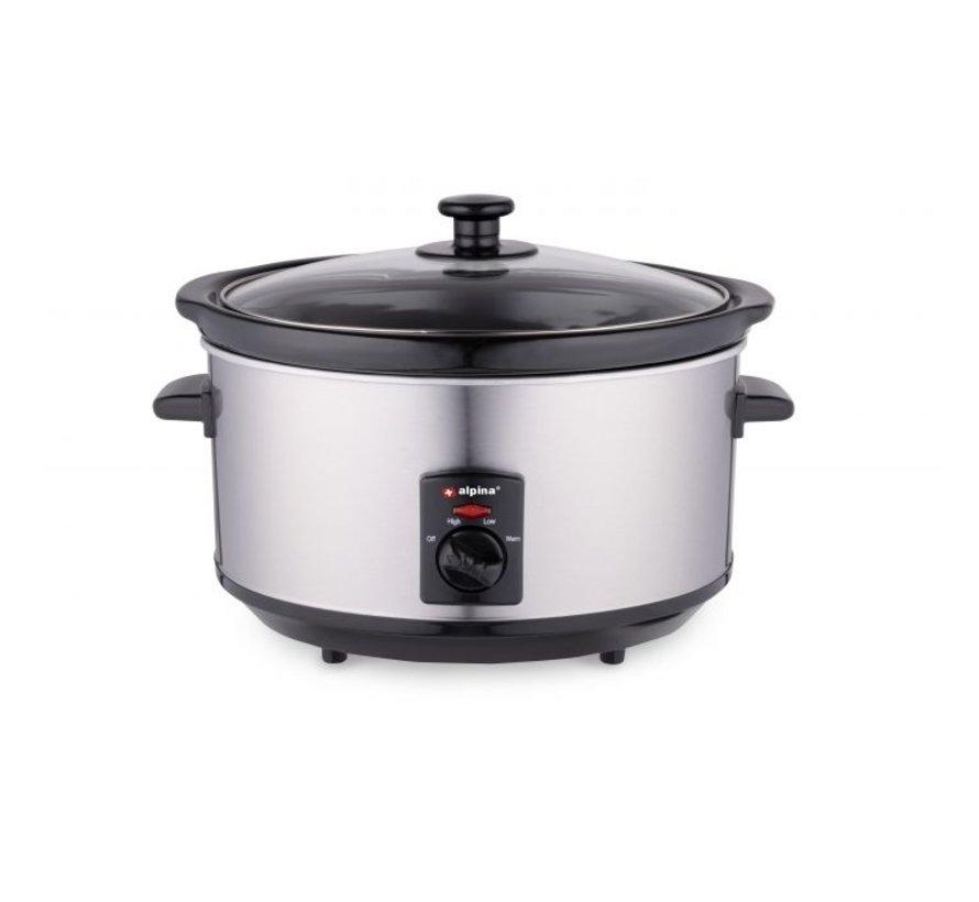 Alpina Slow Cooker - Kooktoestel - RVS - 3,5L - 240W