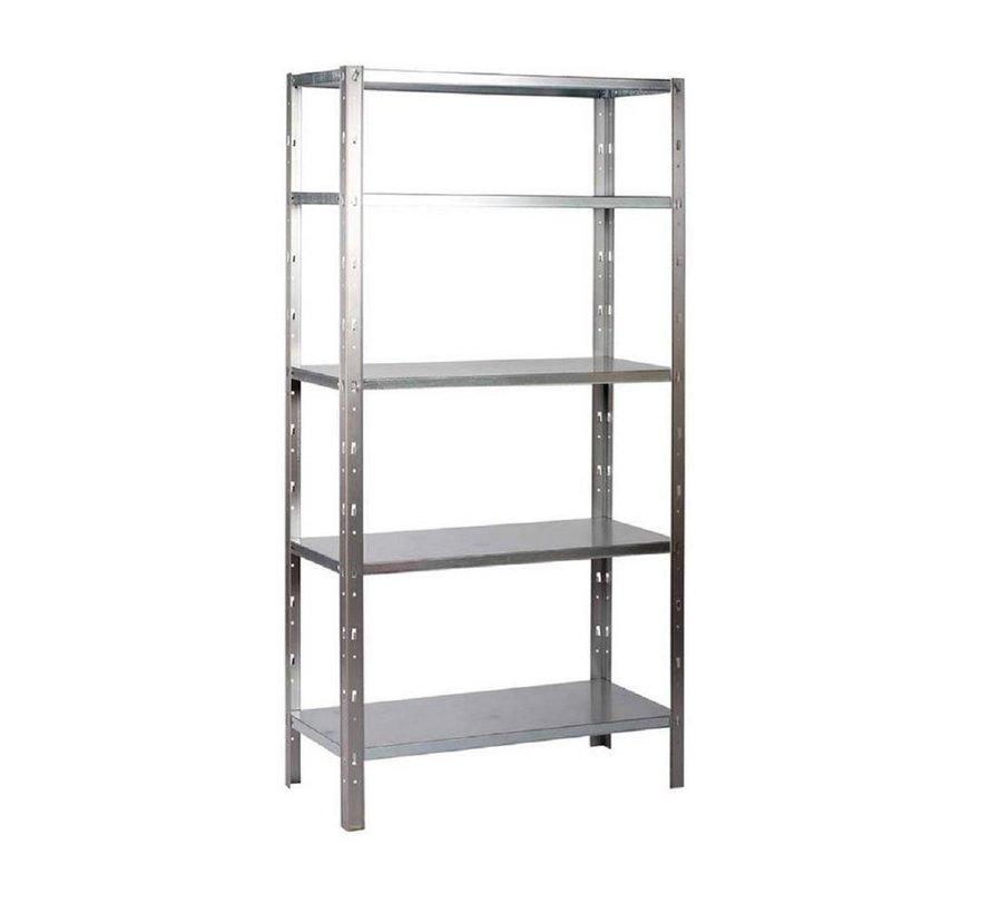 ERRO Metalen Opbergrek/Stellingkast met 5 legborden - 500kg draagkracht - (BxDxH) 100x40x193cm - 100kg per plank