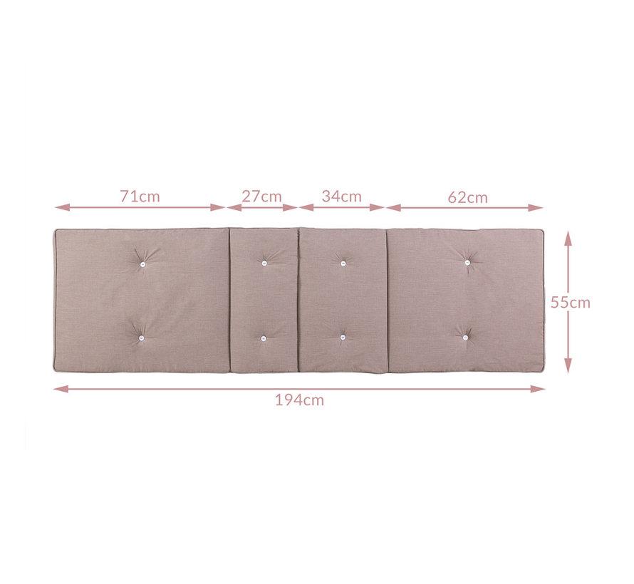 Detex Tuinkussen - Voor Ligbed - 196x55x5cm - Crème