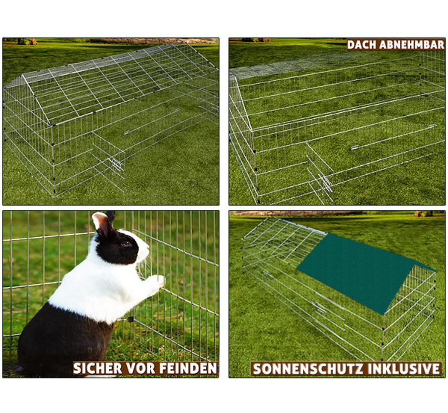 Cadoca Konijnenhok/ Vrijloophok/ Knaagdierhok - 180x75x75cm - incl. zonnescherm - Groen