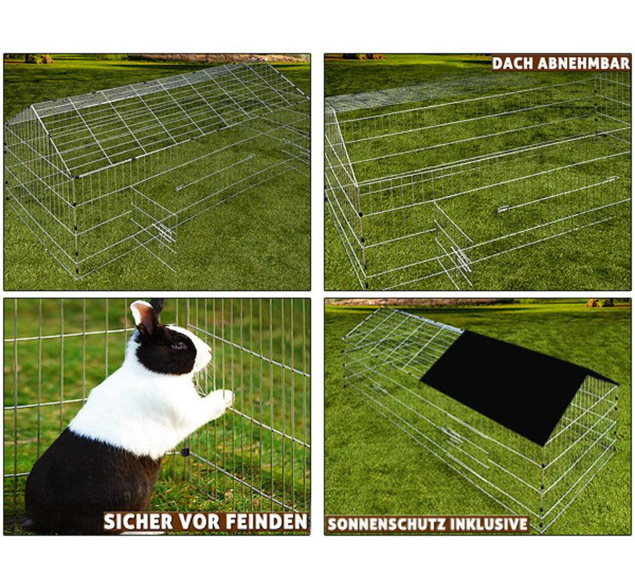 Cadoca Konijnenhok/ Vrijloophok/ Knaagdierhok - 180x75x75cm - incl. zonnescherm - Zwart