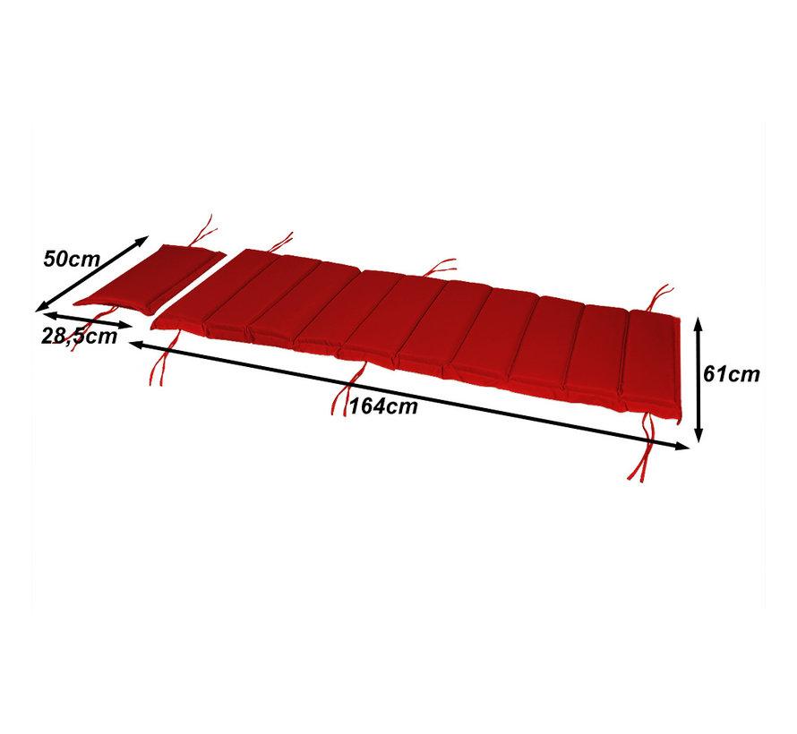 Detex Tuinkussen - Voor Ligbed - Met Hoofdkussen - 183x56x7cm - Rood