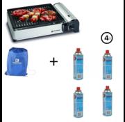 Kemper Kemper draagbare smart gas barbecue Tafelbarbecue Campingkooktoestel + Incl. 4 Gasflessen/Gasbussen 227 gram