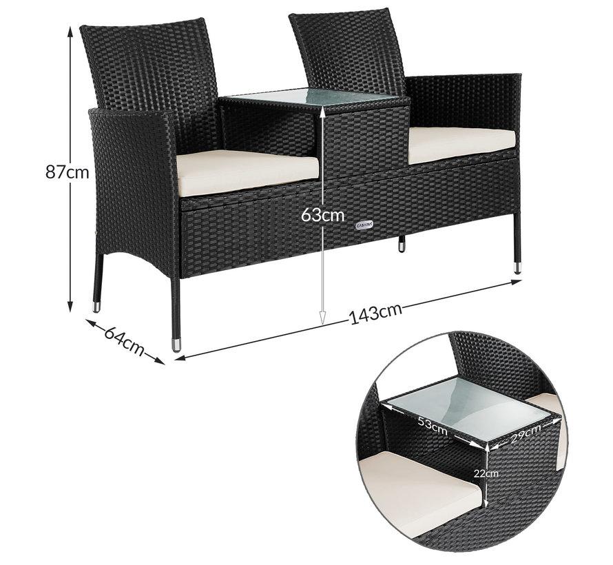 Casaria Tuinbank/ Love Bench met box/ tafel met Zitkussens 143x64x87cm - Zwart