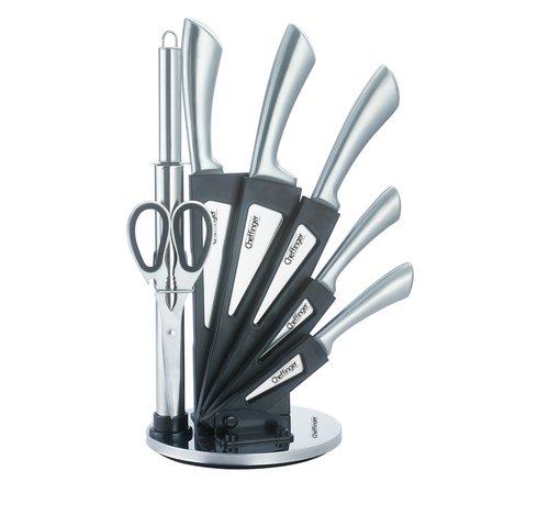 Cheffinger Cheffinger 8-delige Messenset met Standaard - Zilver/Grijs