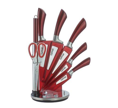 Cheffinger Cheffinger 8-delige Messenset met Standaard - Zilver/Rood